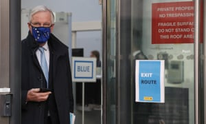 Michel Barnier, the EU's chief Brexit negotiator, leaving a conference centre in London. He has been engaged in the trade talks which are continuing.