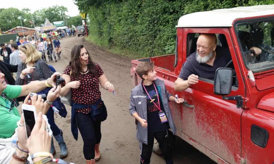 Michael Eavis arrives on site at Glastonbury 2016.