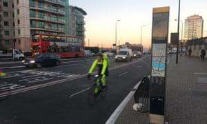 Cycle superhighway 5, Vauxhall Bridge, in London.