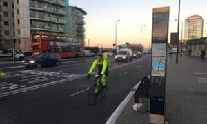 Cycle superhighway 5, Vauxhall Bridge, in London.