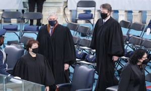 US Supreme Court Justices (L-R) Elena Kagan, Neil Gorsuch and Brett Kavanaugh arrive for the inauguration of Joe Biden and Kamala Harris in Washington on January 20. To the right is Justice Sonia Sotomayor.