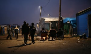 The Calais camp after the first day of a clearance operation by French authorities.
