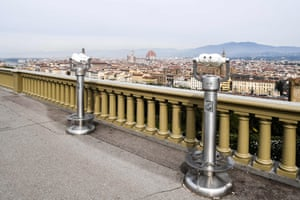 A general view taken on March 10, 2020 from a deserted Piazzale Michelangelo shows the city of Florence, Tuscany.