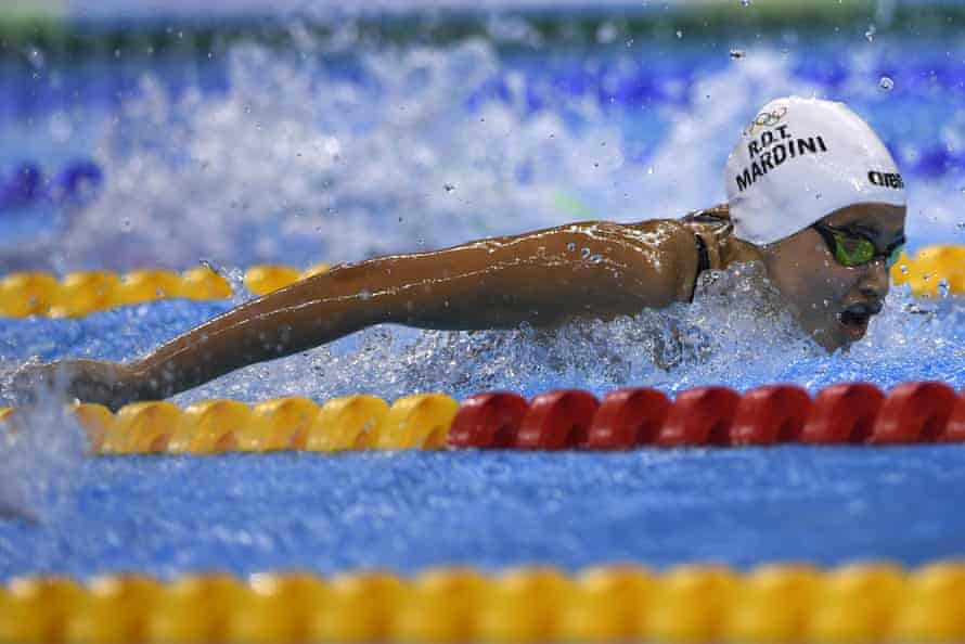 Refugee Olympic Team's Yusra Mardini takes part in the Women's 100m Butterfly heat.
