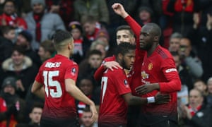 Romelu Lukaku is congratulated on scoring Manchester United's second goal against Reading in the FA Cup third round