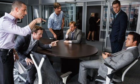 Wilderness on Wall Street ... from left: Jeremy Strong, Rafe Spall, Hamish Linklater, Steve Carell, Jeffry Griffin and Ryan Gosling in The Big Short.