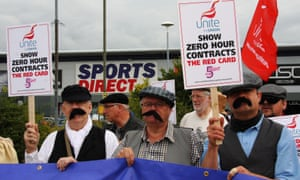 Members of the Unite union protest over zero-hours contracts at Sports Direct's facility in Shirebrook, Derbyshire.