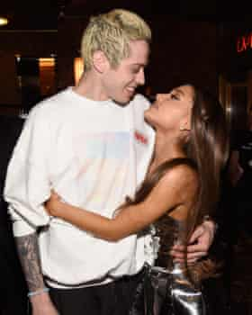 Whirlwind romance ... Pete Davidson and Ariana Grande in August 2018.
