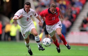 Steve Guppy attacks Belgium's Eric Deflandre on his England debut in October 1999. Described by Kevin Keegan as a 'left-sided David Beckham', it was to be his only cap.