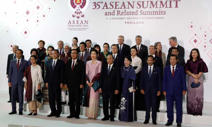 Asean leaders pose for a family photo at the Bangkok summit