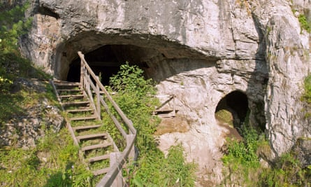 The Denisova Cave  in the Altai Mountains in southern Siberia