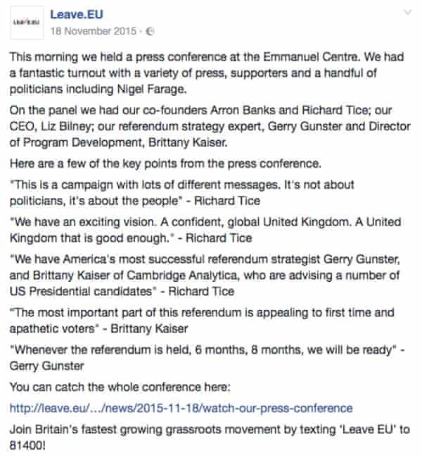 Leave EU campaign screenshot