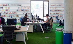 Innocent offices, smoothie-lined walls and grassy floors