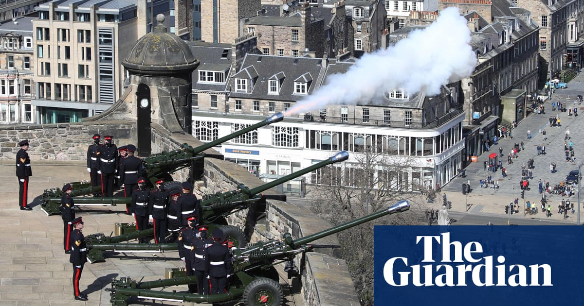 Gun salutes for Prince Philip and people leave floral tributes – video