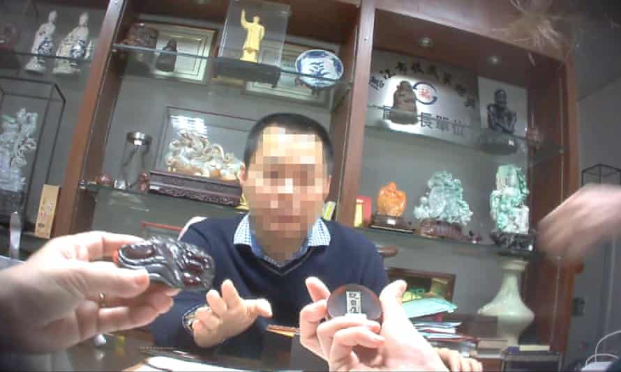 An illegal rhino horn dealer in China caught on camera in Elephant Action League's undercover investigation.