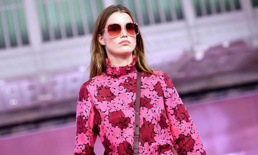 A model walks the runway during the Kate Spade show