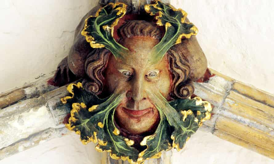 The Green Man who lives in the roof of Norwich Cathedral's cloisters