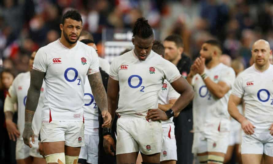 Maro Itoje, right, and Courtney Lawes look shellshocked after England's defeat.
