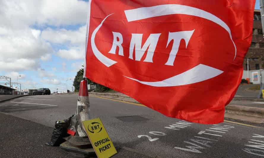 RMT flag at an official picket line