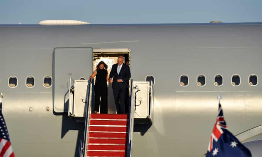 Scott Morrison and his wife, Jenny, arrive at the Andrews base.