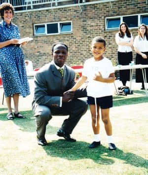 Chris Eubank Jr with his father at school sports day in the mid-90s.