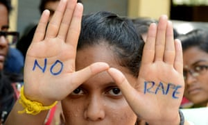 Students take part in a protest against rape in Hyderabad, southern India. Such protests are largely confined to urban areas.