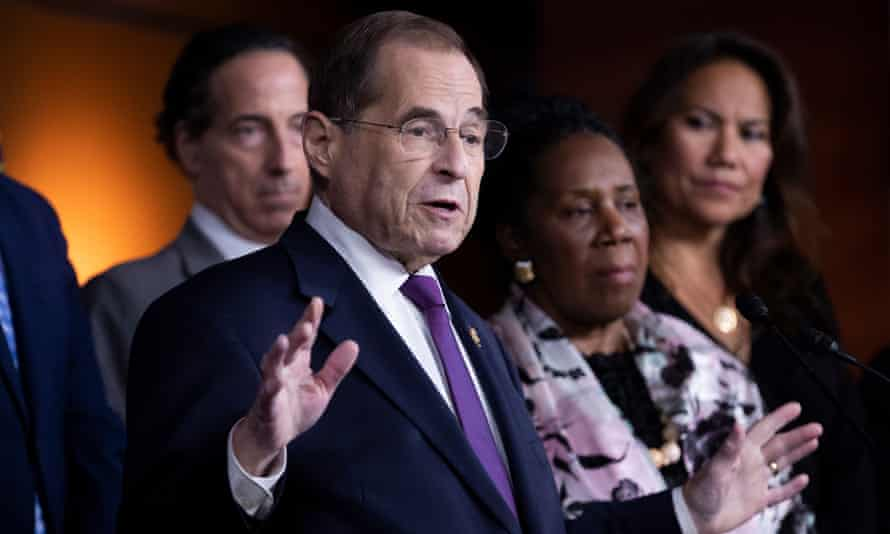 Jerry Nadler holds a news conference with fellow members of the House judiciary committee on Capitol Hill in Washington DC, on 26 July.
