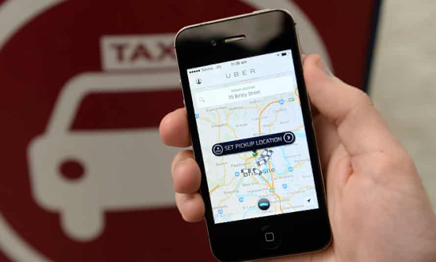 The Uber taxi app in Brisbane