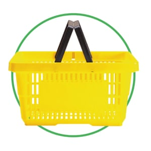 Shpping basket cut-out inside green-rimmed circle
