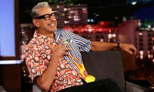 Goldblum on Jimmy Kimmel Live! in a distinctive Prada shirt.