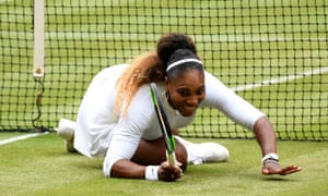 Serena Williams smiles after hitting the deck.