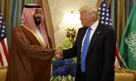 Donald Trump shakes hands with Mohammed bin Salman during the 2017 Riyadh summit, at which a $110bn defence deal was agreed.