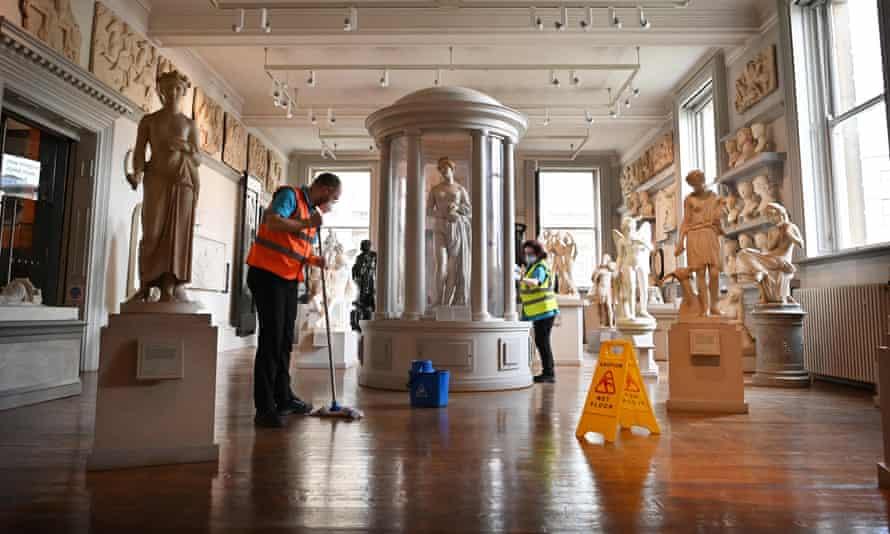 Housekeeping staff preparing to reopen the Walker Art Gallery in Liverpool.
