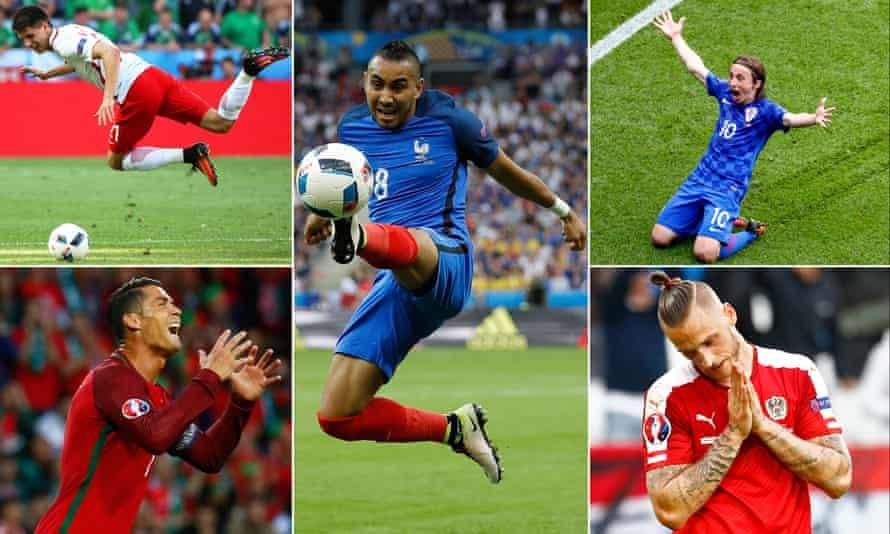 Poland's Bartosz Kapustka, France's Dimitri Payet, Croatia's Luka Modric, Austria's Marko Arnautovic and Portugal's Cristiano Ronaldo.