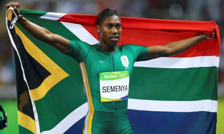 Caster Semenya celebrates her win during the women's 800m final at the 2016 Rio Olympics