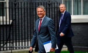 BP's out-going Swedish chairman and chairman of Volvo Carl-Henric Svanberg arrives at Downing Street where the prime minister is hosting a roundtable with industrialists to discuss Brexit.