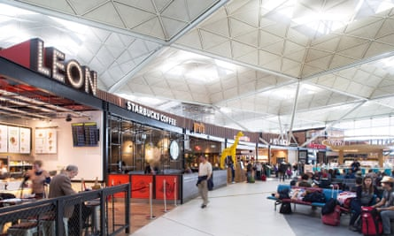 Retail outlets at Stansted airport's expanded departure lounge.