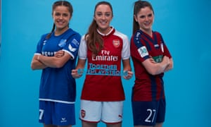SC Sand's Laura Feiersinger, Arsenal's Lisa Evans and Turbine Potsdam's Sarah Zadrazil are backing Uefa's Together #WePlayStrong.