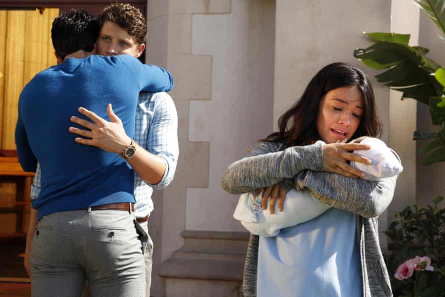 Justin Baldoni as Rafael, Brett Dier as Michael and Gina Rodriguez as Jane in Jane the Virgin
