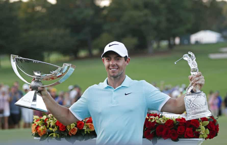 Rory McIlroy celebrates with the FedEx Cup at East Lake last year