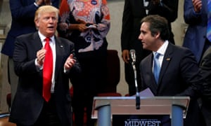 Donald Trump with Michael Cohen in Ohio in September 2016. It emerged this week that Cohen had a secret, in the form of an iPhone in his pocket, set to record.