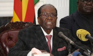 Robert Mugabe addresses the nation on 19 November.
