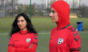 The former Afghanistan captain Khalida Popal with current Afghanistan player Shabnam Mabarz, who is wearing the new head-to-toe outfit with an integrated hijab.
