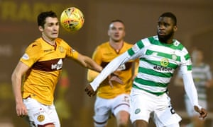 Motherwell's Carl McHugh (left) and Celtic's Odsonne Edouard battle for the ball at Fir Park