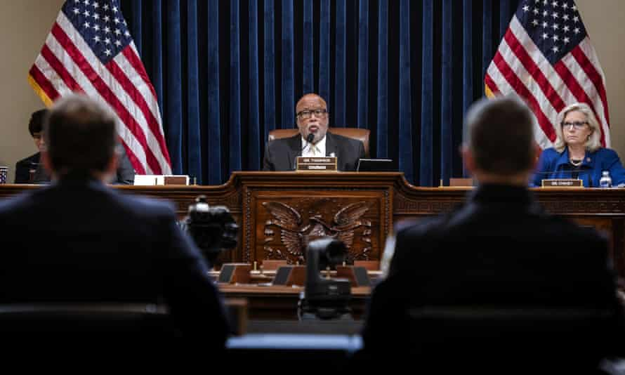 Chairman Bennie Thompson, center, presides over the House select committee hearing with Liz Cheney next to him.