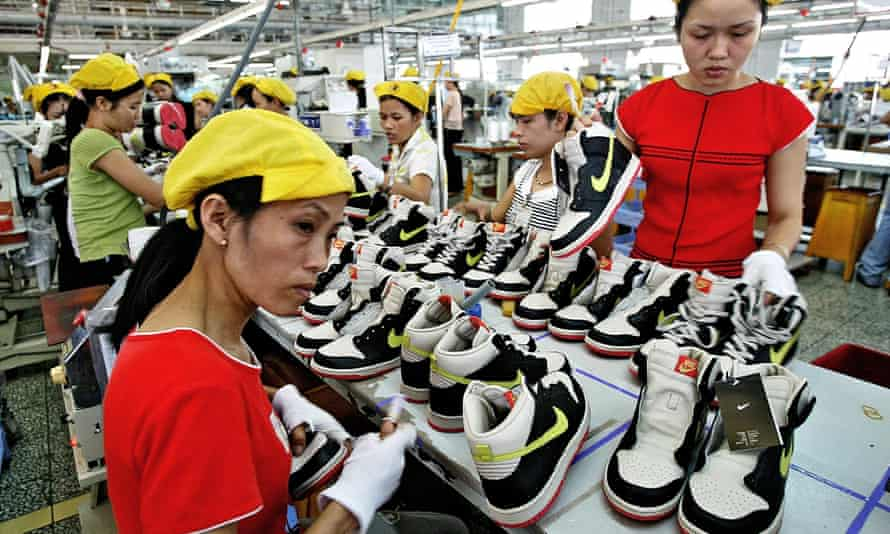 Vietnamese workers at a Nike factory near Ho Chi Minh City