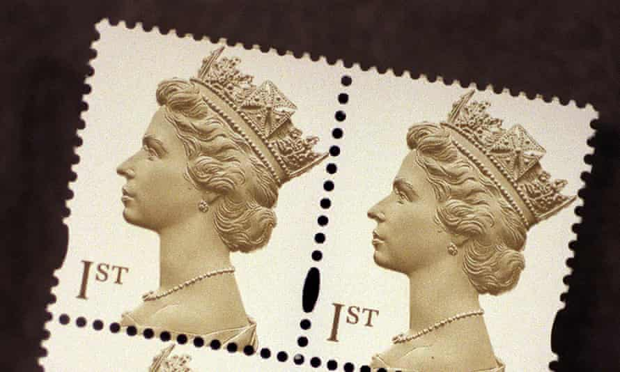 Two postage stamps with the Queen's head on them