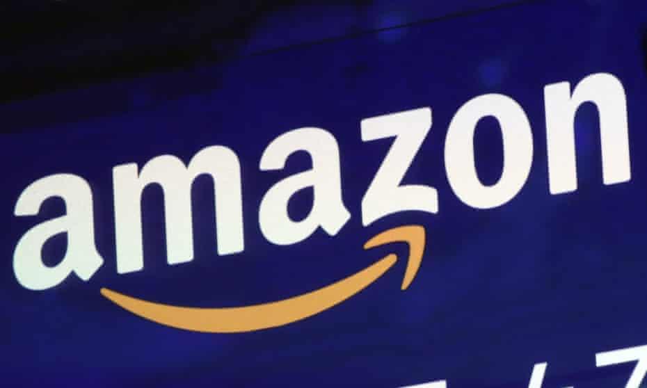 Amazon logo displayed on a screen.