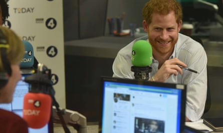 Prince Harry in the Today programme studio.