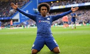 Willian celebrates scoring for Chelsea.